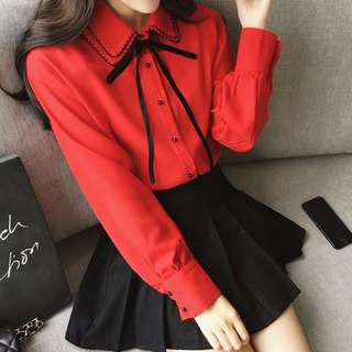 Back to School Ribbon Collar Blouse
