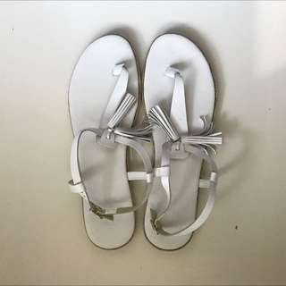 White Leather Country Road Sandals