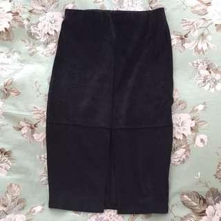 Navy Suede Midi Skirt