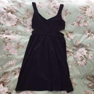 Black Flowy Cut Out Dress