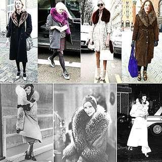 Vintage Fur From 40s Shawl Scarf Jacket Costume 復古40年代電影戲服真毛披肩外套 Not Zara Not Dries Van Noten