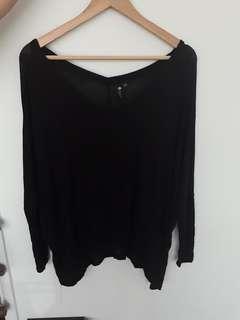 Long sleeve black V neck