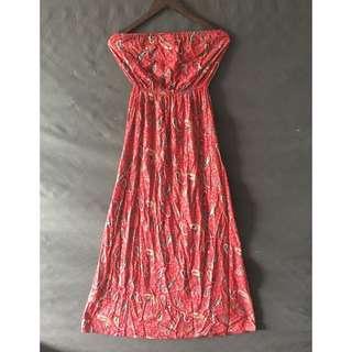Paisley Print Strapless Dress Maroon