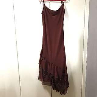 Chiffon Dress With Lace And Ruffles