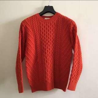橘子紅針織毛衣