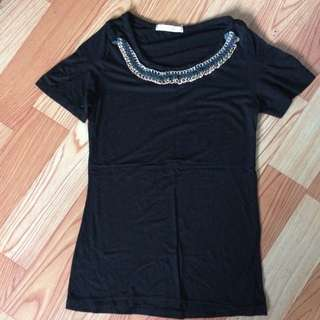 Black Blouse With Chain Design