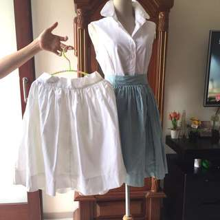 rok skirt bahan premium(putih size M,hijau telor asin size S)