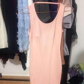 Salmon Pink Backless Dress