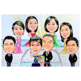 Family Caricature Traditional Drawing