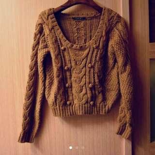 INGIN復古短版球球咖啡色毛衣 溫暖色#100元上衣