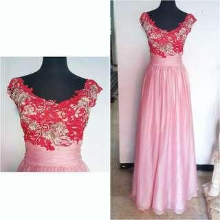 Fuschia Long party dress
