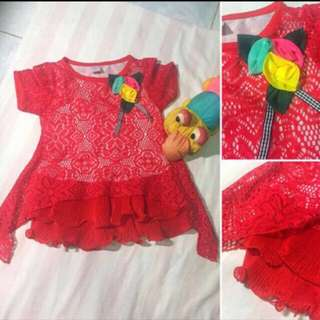 Girls Red Knitted Top