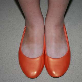 orange ballerina flat shoes
