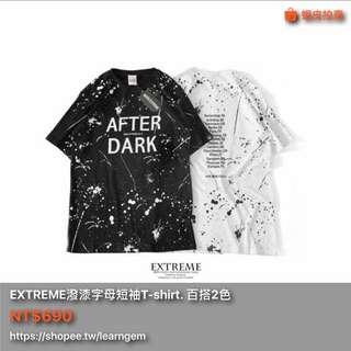 EXTREME潑漆字母短袖T-shirt. 百搭2色