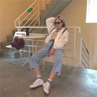 韓國新款百搭BF寬鬆撕邊牛仔寬褲 直筒褲