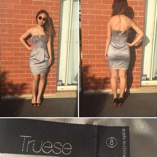 Truese Strapless cocktail/formal Dress(size8, Silver)