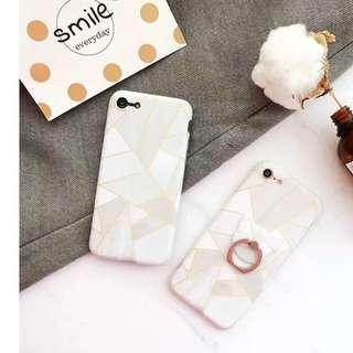 現貨 iPhon7系列  韓風 絕美白理石系描金幾何 手機殼