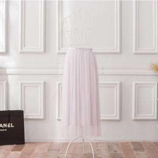 Nicole 下標「尺寸不合轉賣」Peachy獨家訂製綿柔優雅綁帶百褶紗裙-淺芋灰