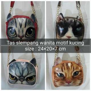 Tas Slempang Wanita/cewek/reamaja Motif Kucing