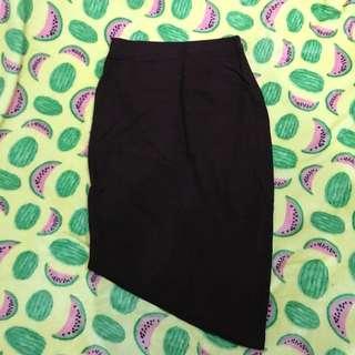 Assymetrical Bodycon Skirt Midi Brown Luna Maya Hardware
