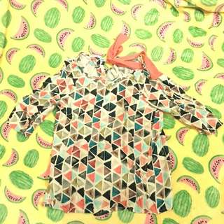 Promod Blouse Abstract With Pink Ribbon