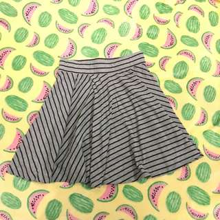 Graphis Stripe Black Gray Grey Mini Skirt