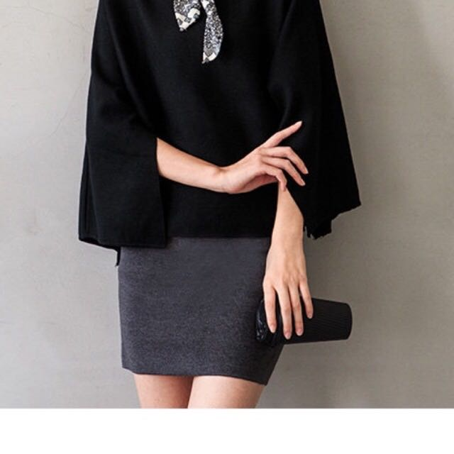 金屬環棉質窄裙