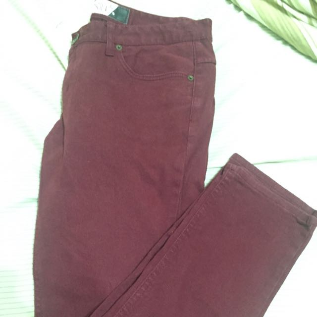 韓版酒紅色長褲