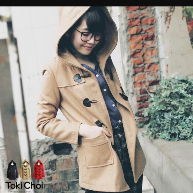 (轉賣)東京著衣連帽牛角釦駝色毛呢大衣