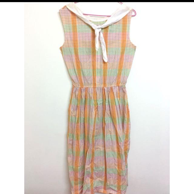 極可愛 水手領格紋洋裝