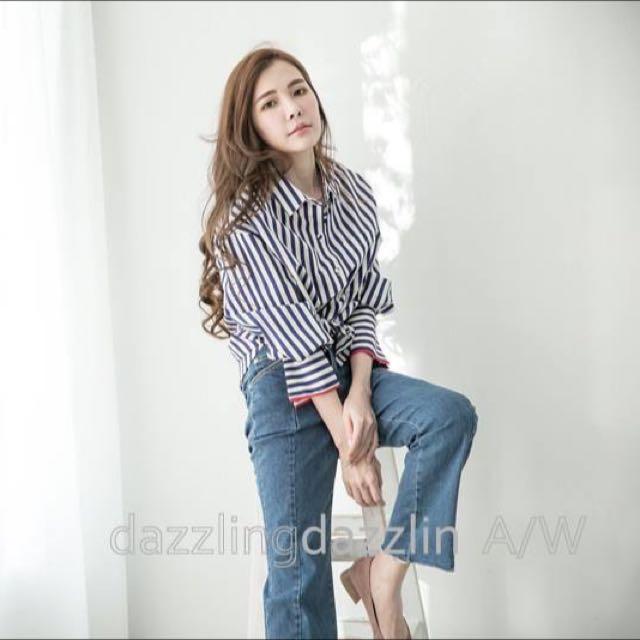 林鴒推薦 小首爾條紋襯衫...