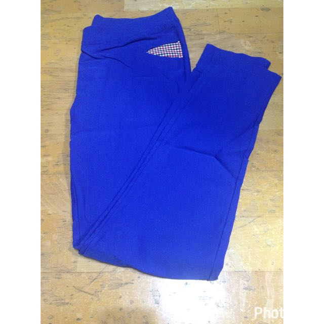 寶藍色 彈力長褲