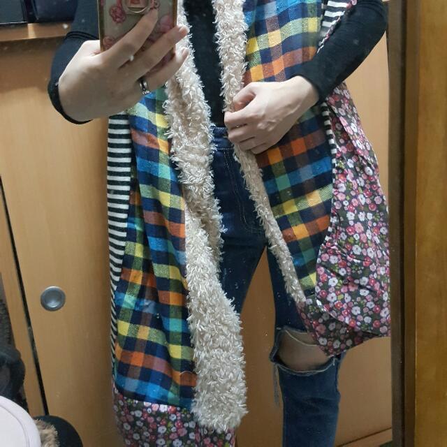 圍巾 格子 碎花 條紋 毛毛