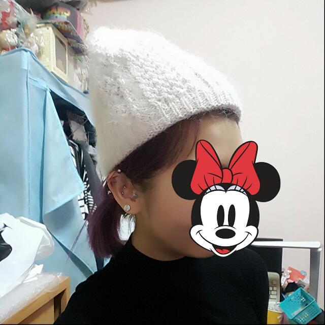 冬天 毛帽  白色 針織 毛毛 米白 帽