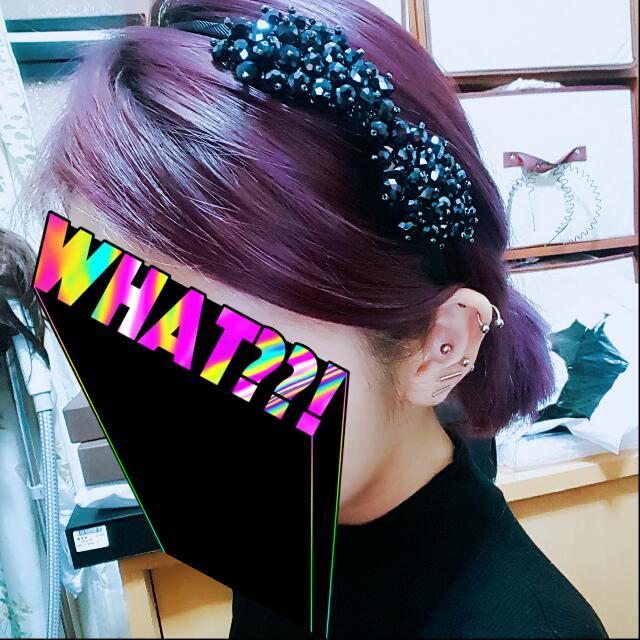 蝴蝶結 髮箍 串珠 珠珠 黑色 正式場合 典禮 超美