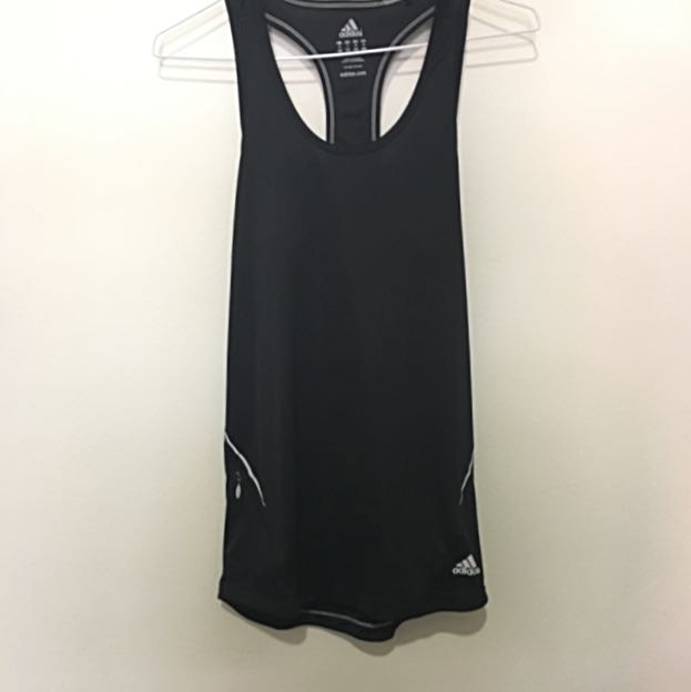 Adidas Black Running Tank, Tight-fit, Size Small, One Pocket With Zip