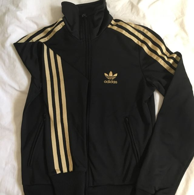 Adidas Original Black Jacket Gold Trefoil