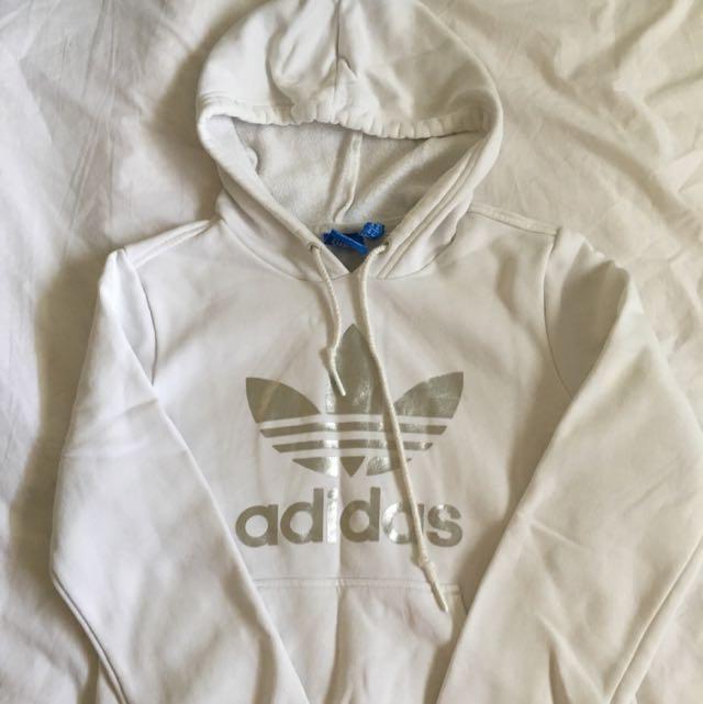Adidas Original White Hood Silver Trefoil