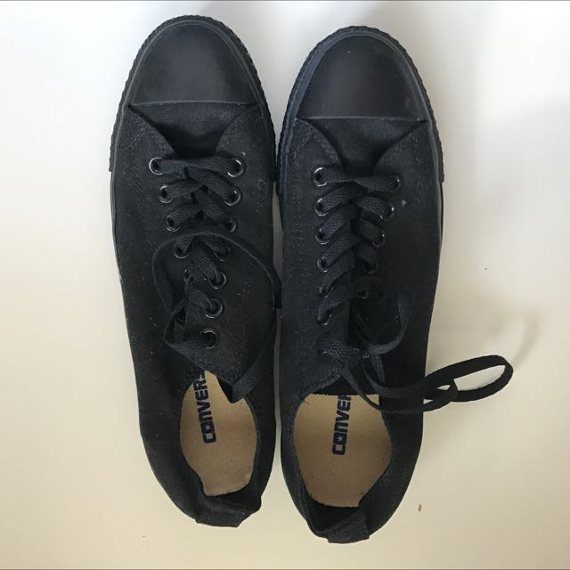 All Black Low Top Converse Sneakers