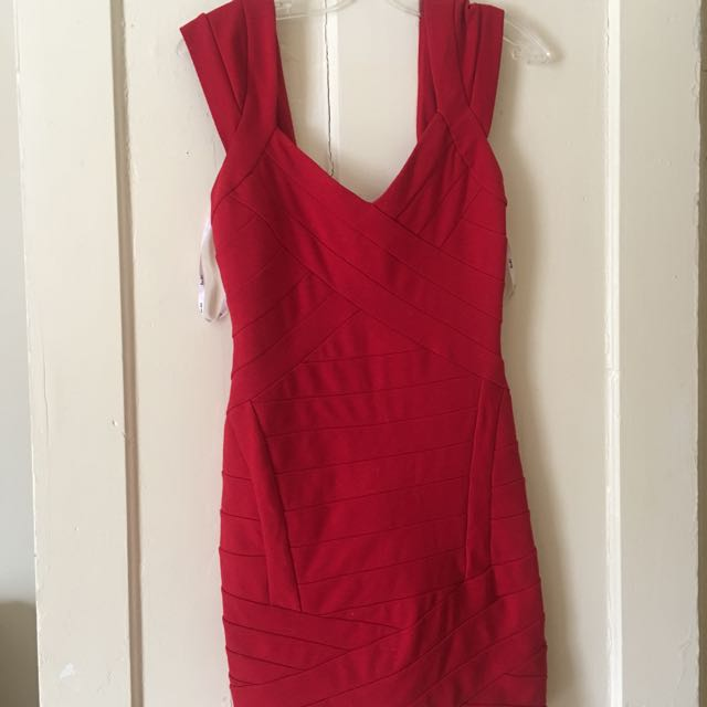 Bardot Red Bandage Dress