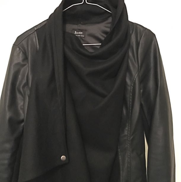 Bardot Size 10 Black Leather-look Jacket, Stretchy Sleeves, Button Up Wrap Front
