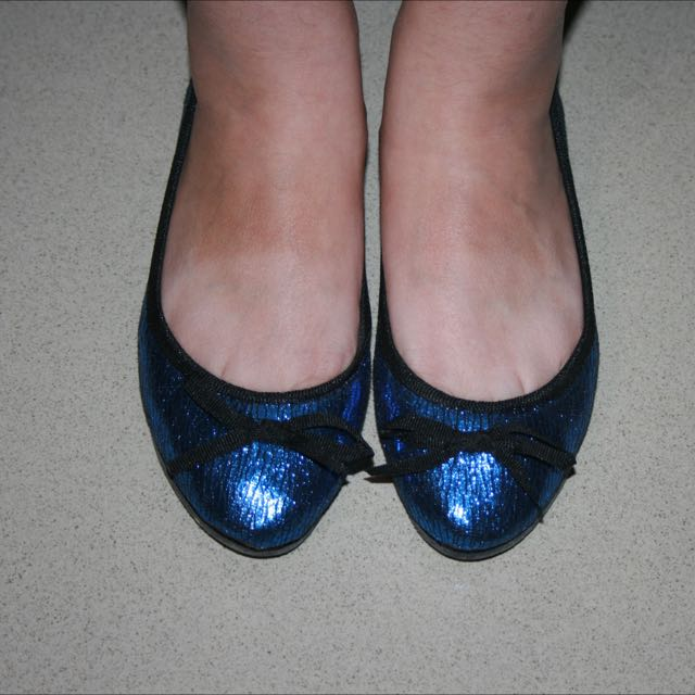 blue sparkly flats