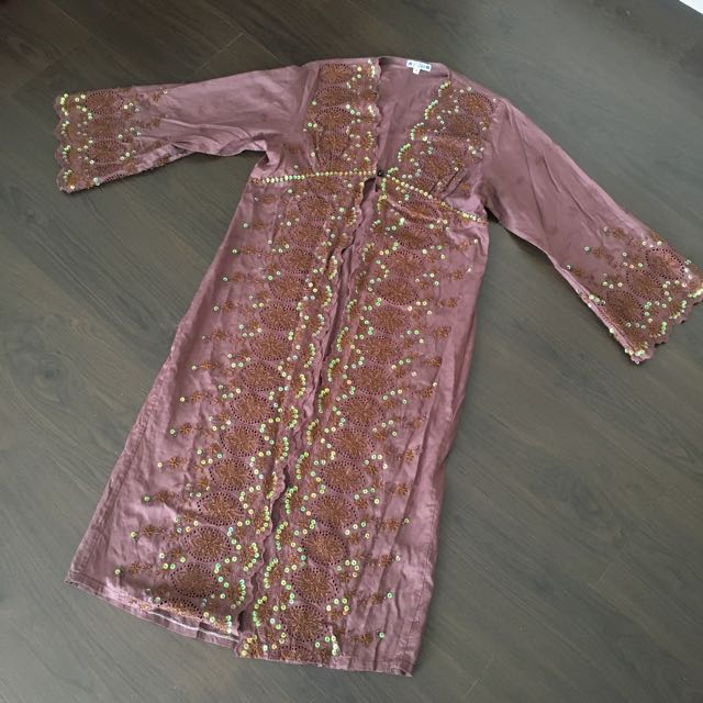 Brown Kebaya Top With Beads