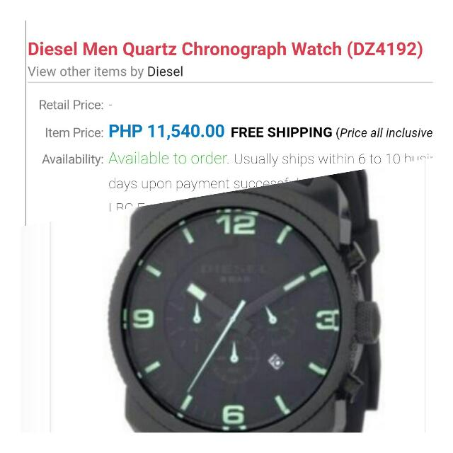 Diesel Men Quartz Chronograph Watch (DZ4192)