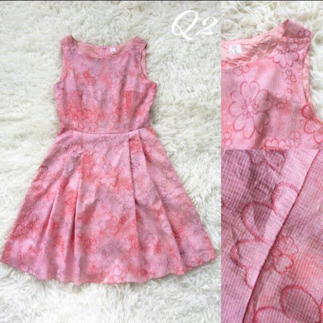 Dress Pink Corak Kembang