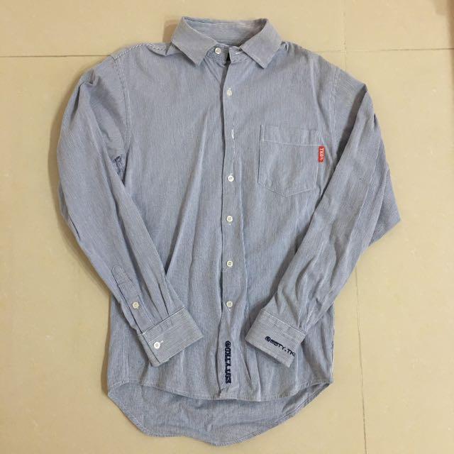 男款✨ECSTASY挺版厚棉條紋襯衫