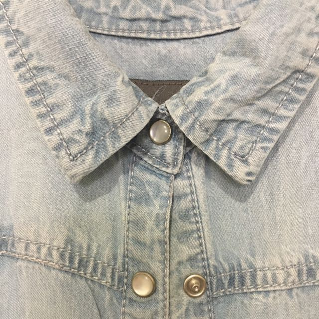 Forever New Chambray Light Blue Button-up Sleeveless Top