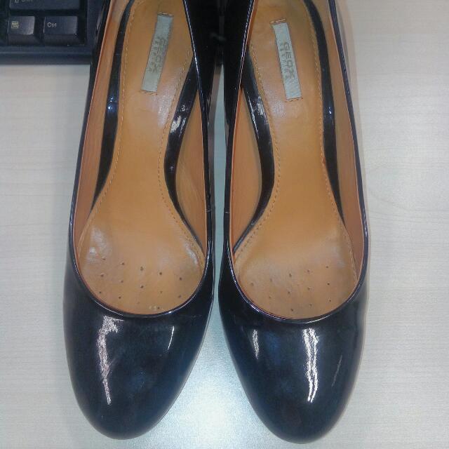 Geox Black Leather Heels Size 37, 39 Size Lokal
