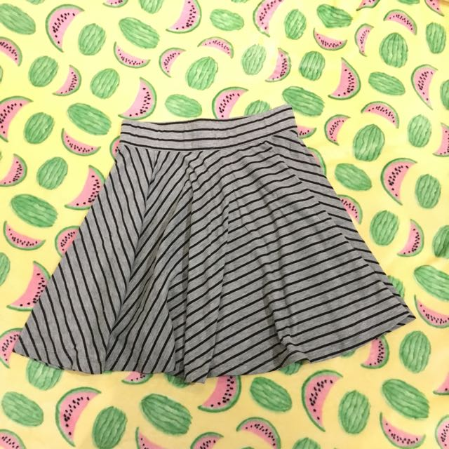 Graphis Stripe Black Gray Grey Mini Skirt
