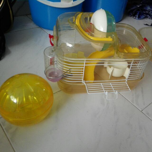 Hamster cage and running ball